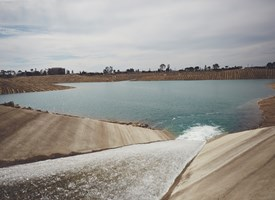 Water flows into Anaheim Lake, where it will be recharged into the Orange County Groundwater Basin